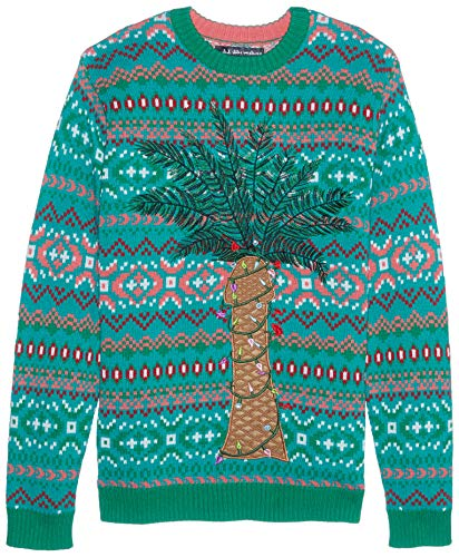 Blizzard Bay Men's Ugly Christmas Sweater Light UP, Brown, Medium (Light Palm Tree Up)