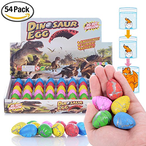 Magic Dinosaur (Dinosaur toys, Xosoy 54 Pcs Dinosaur Eggs With Mini Dinosaur toys Inside | Novelty Magic Hatching Growing Dinosaur egg | Best Children Gift (colorful))