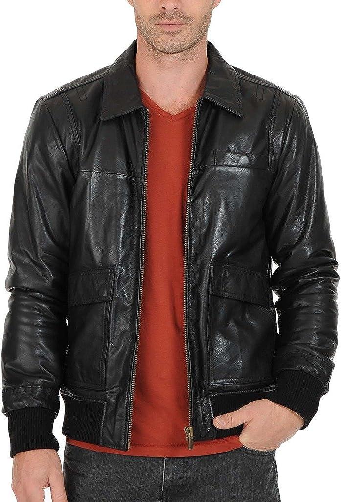 New Men Motorcycle Leather Black Jacket Custom Made KL110
