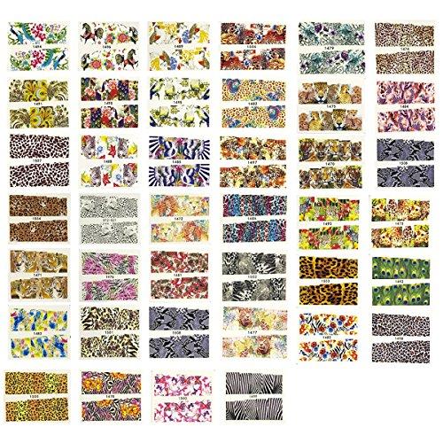 Wrapables Animal Print Art, Water Nail Decals (40 Sheets)