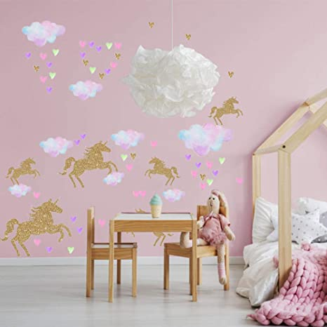 Amazon.com: Pegatinas de pared de unicornio para decoración ...