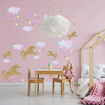 Unicorn Wall Decor Decal,112pcs Unicorn Nursery Wall Stickers Girls Bedroom  Kindergarten Home...
