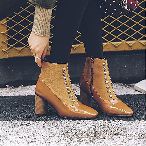 Hsxz Damen Schuhe Beflockung PU Fall Fall Fall Winter Komfort Stiefel Chunky Ferse quadratisch Stift für Outdoor Büro \ Karriere braun schwarz f1973b