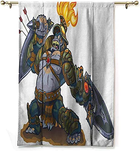 Kids Thermal Insulated Drapes for Kitchen Bedroom Cartoon Like Fantastic Warrior King Monkey with Shield Feather Animal Artwork Print Suitable for Bedroom Living Room Study, etc. W48 xL72 Multicolor