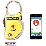eGeeTouchスマートトラベルロック 旅行用TSAロック搭載南京錠 スマホやスマートウォッチで鍵や暗証番号不要 (黄)