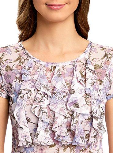 oodji Collection Mujer Camiseta Estampada con Volantes Blanco (1041F)