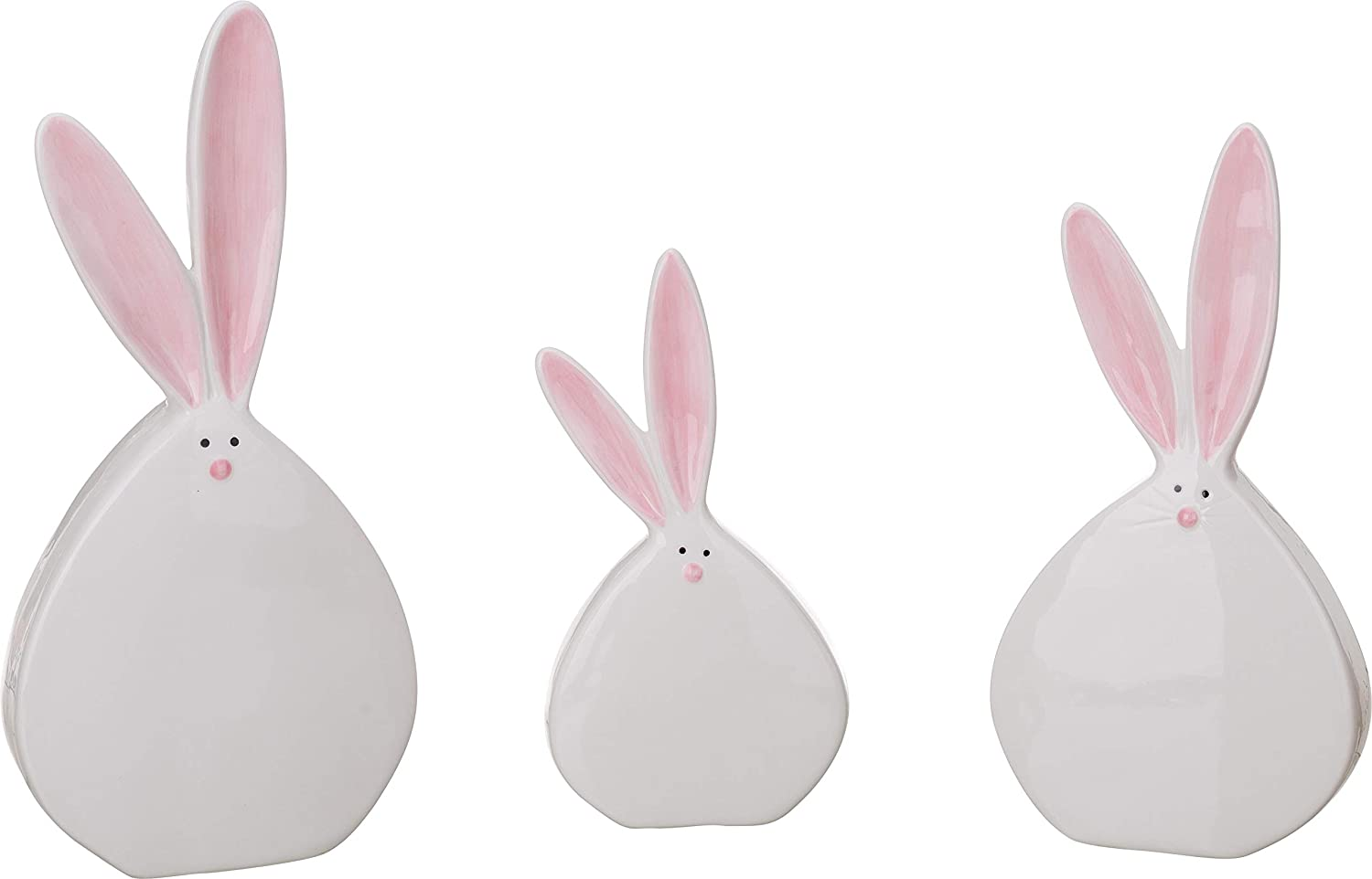 Transpac White Dolomite Easter Fun Chubby Bunny Tabletop Decor Set of 3
