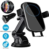 Wireless Car Charger Mount, BOBOLONG Qi Automatic Clamping Air Vent Dashboard Car Phone Holder & QC 3.0 Car Charger, 10W Compatible for Galaxy S10/S10+/S9.7.5W Fast Charging for iPhone Xs/Xs Max/XR