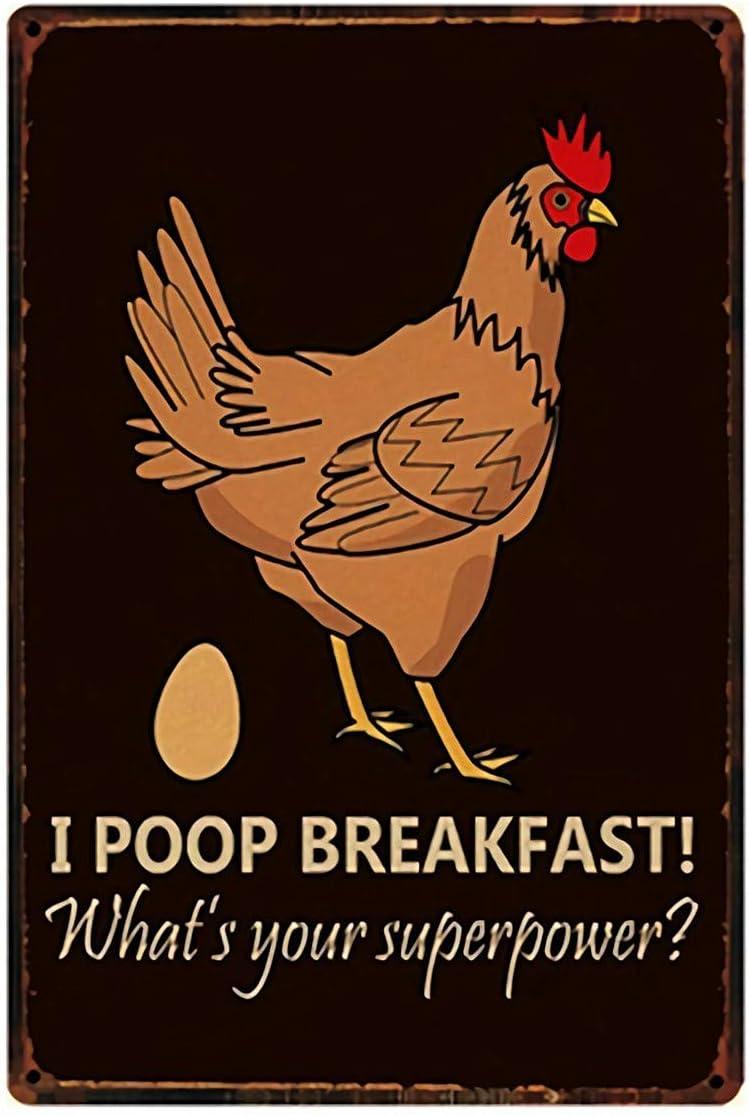 I Poop Breakfast!Chicken Crossing Farm Fresh Eggs Metal Tin Sign 8x12inch Home Kitchen Bar Pub Farm Wall Decor