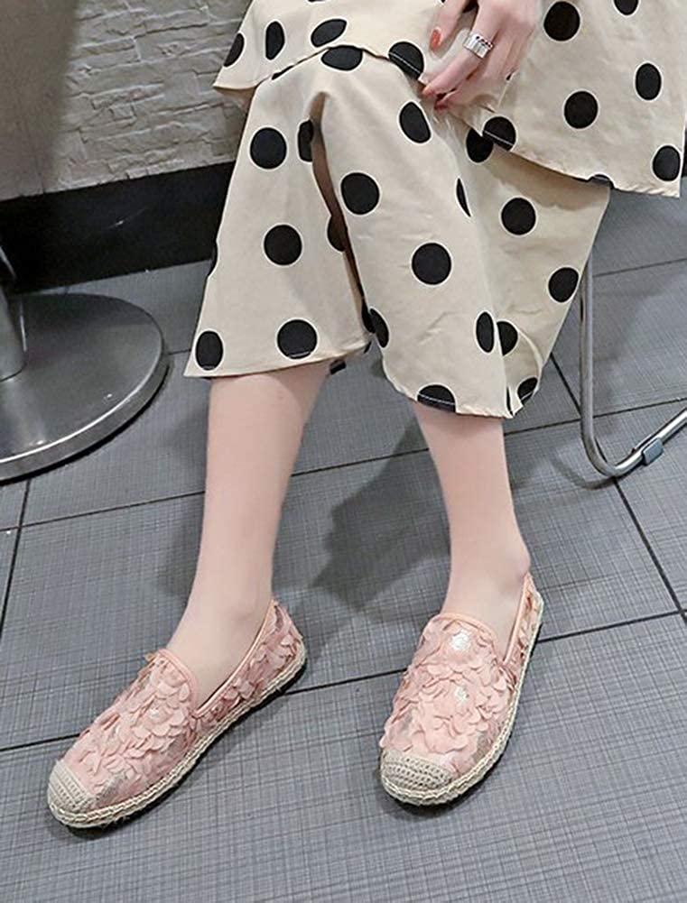 SHOWHOW Womens Chic Round Cap Toe Sequins Knit Flowers Flats Loafer Shoes