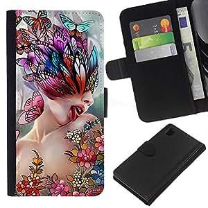 All Phone Most Case / Oferta Especial Cáscara Funda de cuero Monedero Cubierta de proteccion Caso / Wallet Case for Sony Xperia Z1 L39 // Art Lick Woman Butterfly Spring Abstract