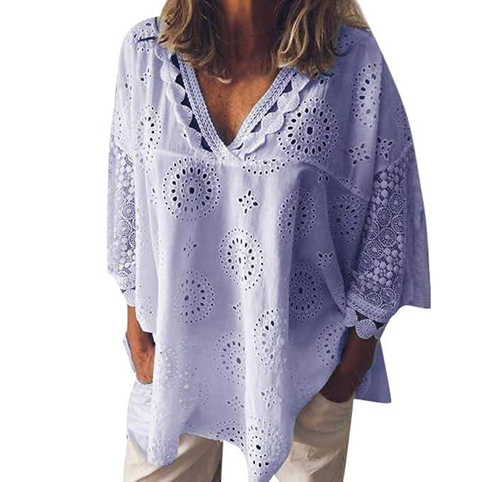 Amazon.com: Limsea 2019 - Blusa de algodón para mujer, media ...