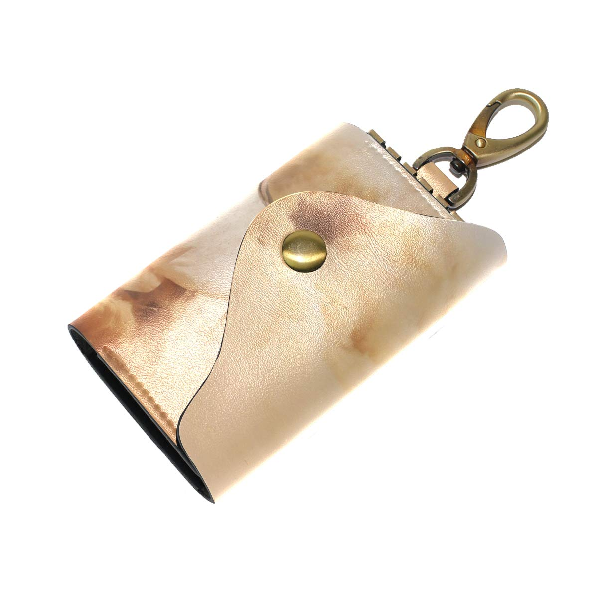 KEAKIA Running Horse Leather Key Case Wallets Tri-fold Key Holder Keychains with 6 Hooks 2 Slot Snap Closure for Men Women
