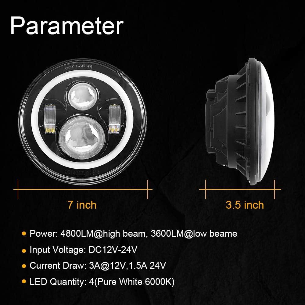 7 Round CREE LED Headlights with RGB Halo for Jeep Wrangler JK TJ LJ CJ Rubicon Sahara Willys Hummer H1 H2