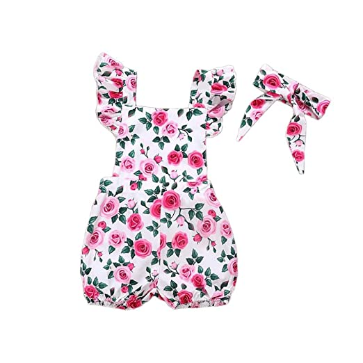 7213111f58a Amazon.com  OUBAO Baby Romper 2018 Summer Toddler Baby Boy Girls 2PCs Flower  Printed Romper +Bowknot Headband Jumpsuit Outfits Clothes  Clothing