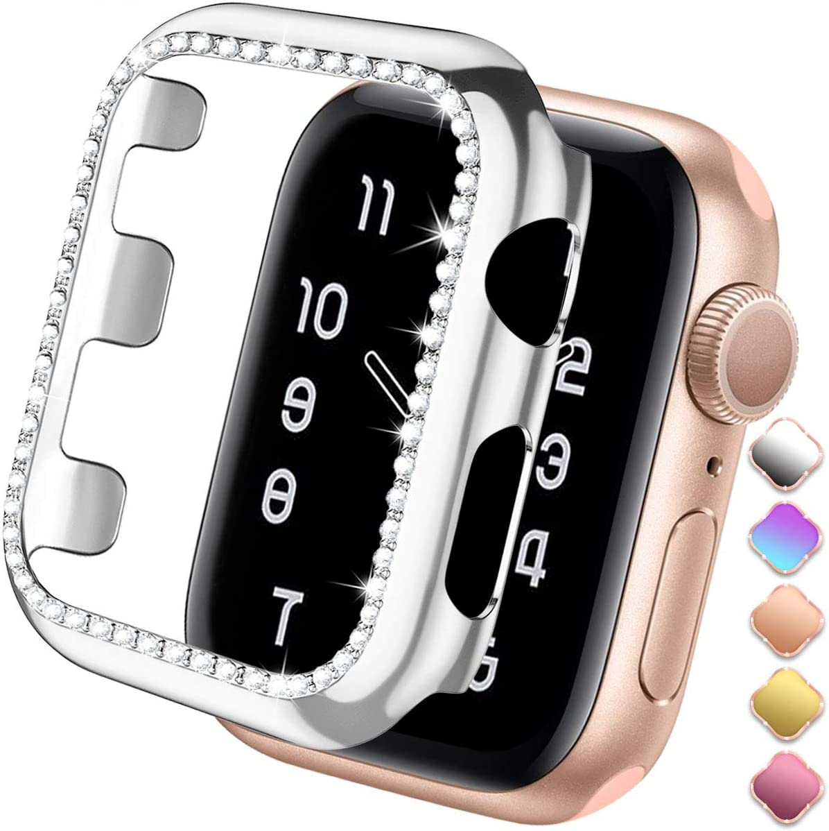 ZAROTO Screen Protector for Apple Watch SE Case 38mm, Bling Bumper for Apple Watch 38mm Series 3 2/1 Cover Protective Case Glitter Diamond Plate Frame Sparkle Rhinestone Women Girl 38mm Silver