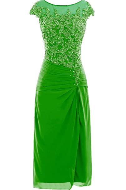 1b3610d46e9 DINGZAN Knee Length Applique Mother of Bride Groom Dresses with Cap Sleeves  2 Apple Green