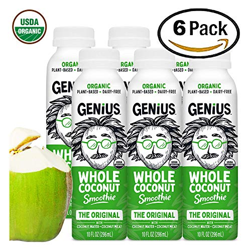 Genius Juice Organic Coconut Smoothie: Delicious Blended Whole Coconut Meat + Coconut Water - Creamy, Filling Meal Replacement - MCTs, Paleo, Vegan, Kosher, Non-GMO - Original 6 Pack