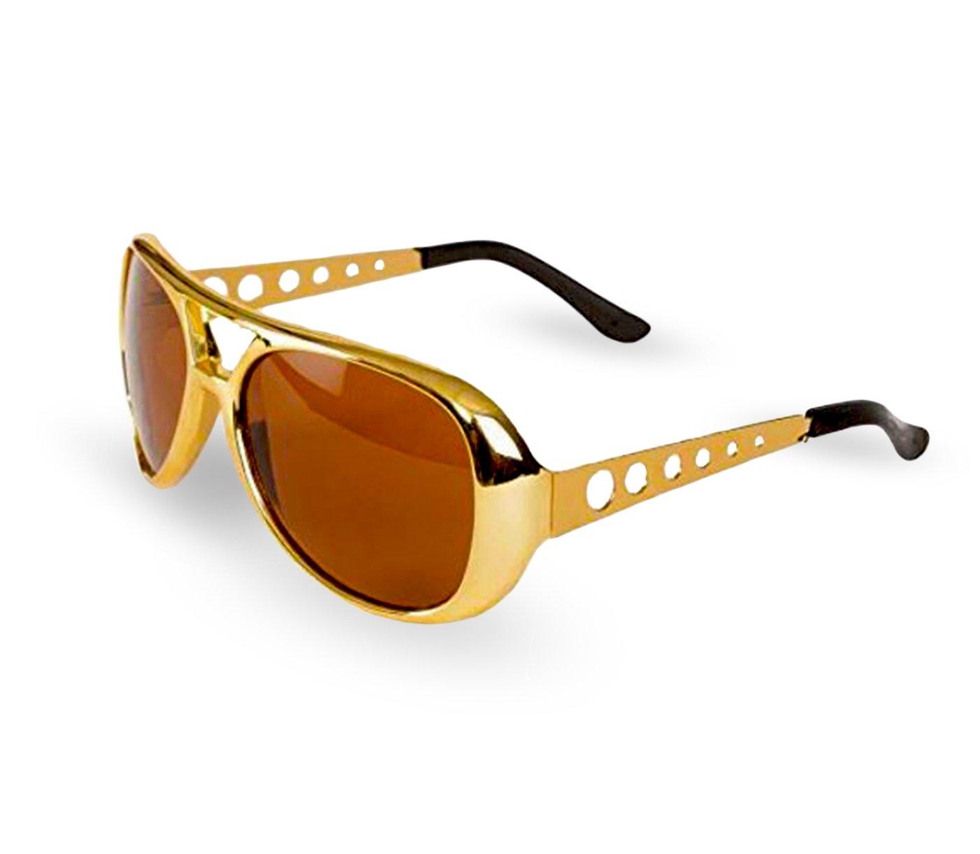 Big Mo's Toys Elvis Rockstar 50's, 60's Style Aviator Shades, Gold Celebrity Sunglasses 1 Pair PR Sunglasses