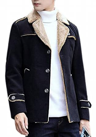 5811e19ffb8 Xswsy XG Mens Lapel Winter Outdoor Fitted Half Trench Coat Woolen Jacket  Black XXS