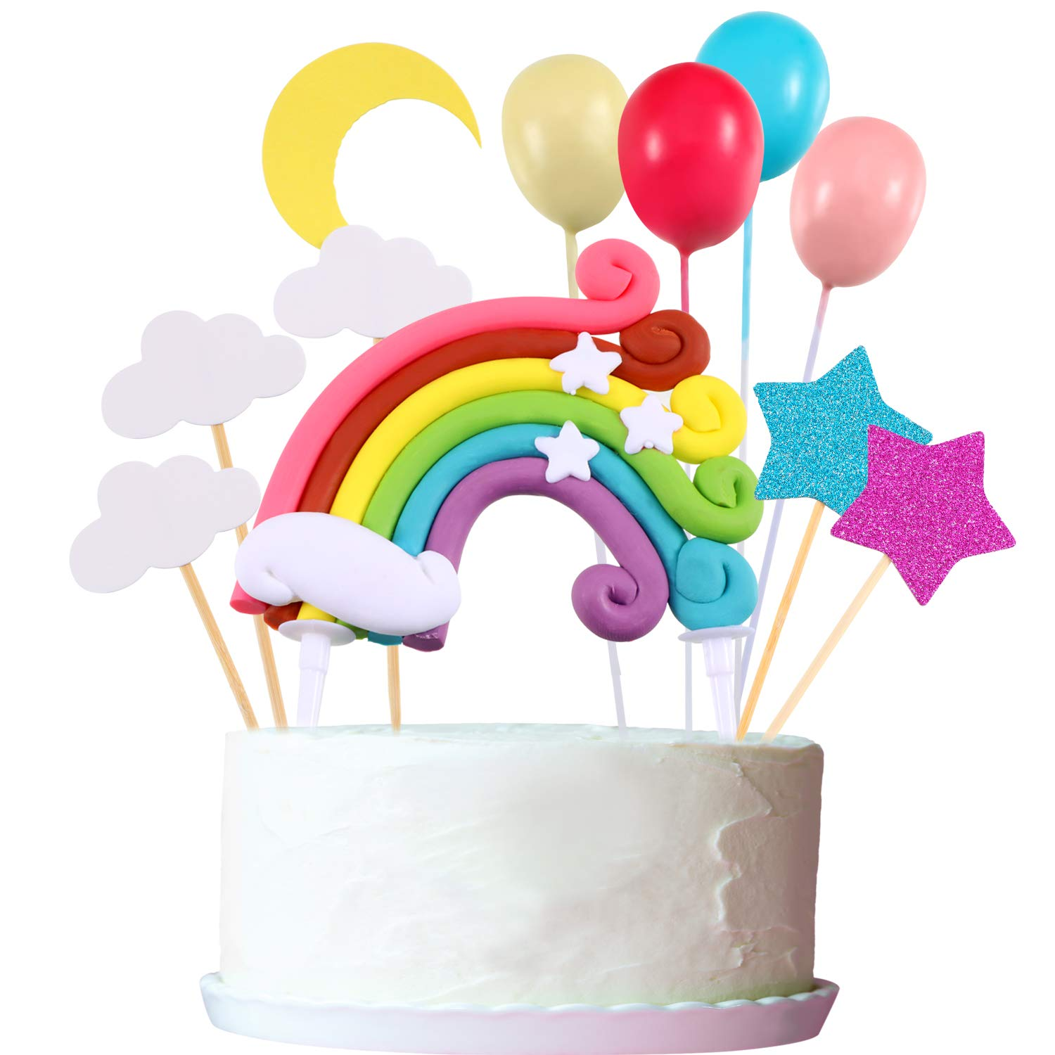 15 Pieces Cake Topper Set, Include Rainbow Cloud Moon Star Balloon Shape Cake Topper Cupcake Picks for Birthday Wedding Party Cake Decoration