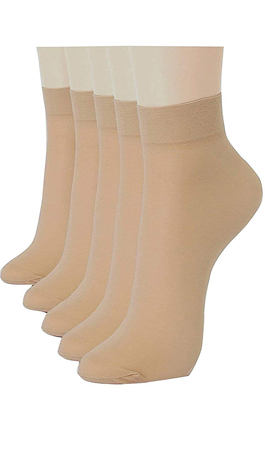 SOCKS Women's Cotton Sock with Toe (SHUIRBCSHR, Transparent, Free Size) - Pack of 5