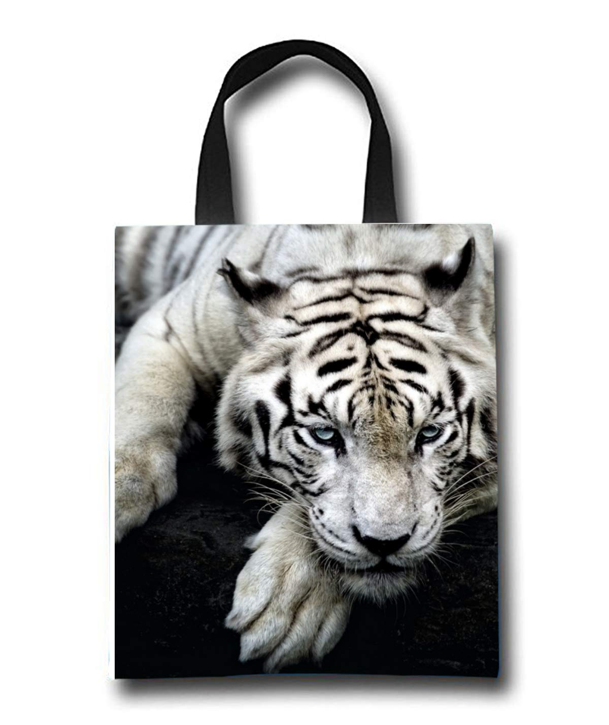 White Tiger Beach Tote Bag - Toy Tote Bag - Large Lightweight Market, Grocery & Picnic
