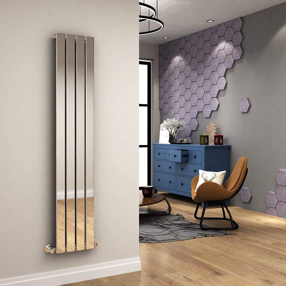 1600 x 300 mm Vertical Column Radiator Chrome Single Flat Panel