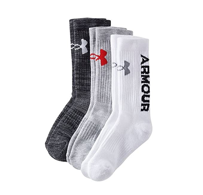 b360448c08 Under Armour Youth 3 Pairs Crew Socks Born To Lead Shoe Size: 13.5K -