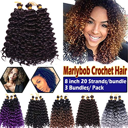 Afro Marlybob Crochet Hair Braids 8 Inch Water Wave Kinky Curly Synthetic Hair Bundles Extensions Jerry Curl Twist Hair Weave for Black Women 3 Bundles/Pack Wine - Inch Wine Red 8