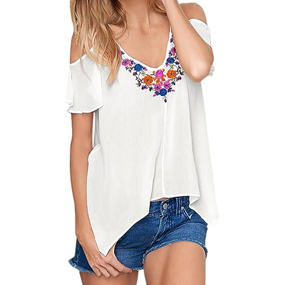 QinMM Mujer Floral de Blusa Sin Hombros, Camiseta con Cuello EN v, Camisa de