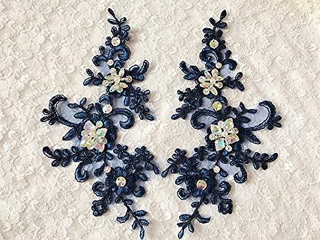 Deep blue trim patches lace applique con strass paillettes perline