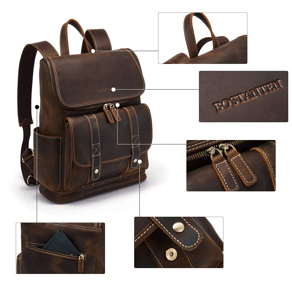 BOSTANTEN Leather Backpack 15.6 inch Laptop Backpack Vintage Travel Office Bag Large Capacity School Shoulder Bag by BOSTANTEN (Image #3)