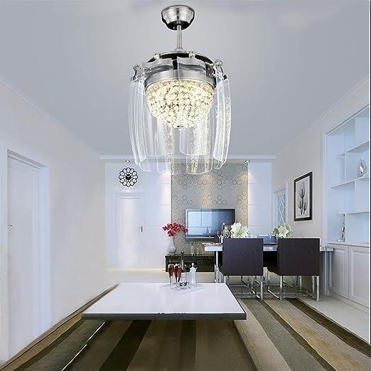 Ventilador con techo de cristal, ventilador retráctil con luces ...