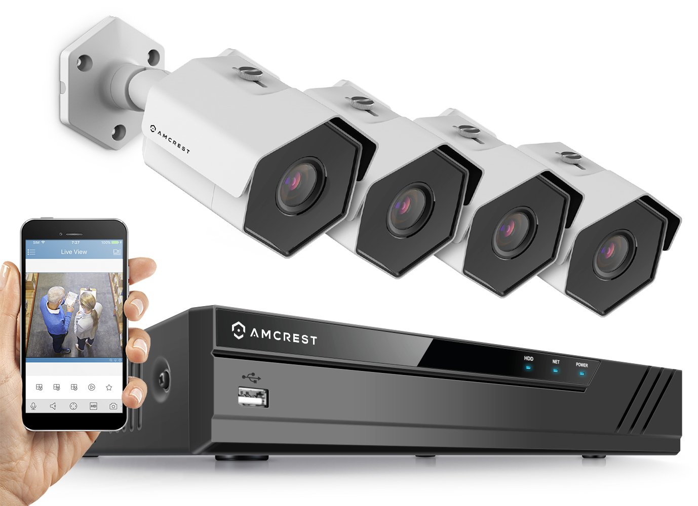 Amcrest 8CH Plug & Play H.265 4K NVR 4MP 1440P Security Camera System, (4) x 4-Megapixel 3.6mm Wide Angle Lens Weatherproof Metal Bullet POE IP Cameras, 98 Feet Night Vision (White)