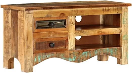 Rustic TV Stand Industrial Vintage Furniture Small Media Storage Cabinet Solid Wood Unit Antique Indian Sideboard Retro Side Low board 2 Drawers 1 Shelf Wooden Farmhouse Style Modern Large Living Room