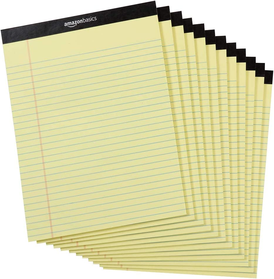 AmazonBasics Legal/Wide Ruled 366-366/366 by 366366-36/36 Legal Pad - Canary (36 Sheet  Paper Pads, 366366 pack)