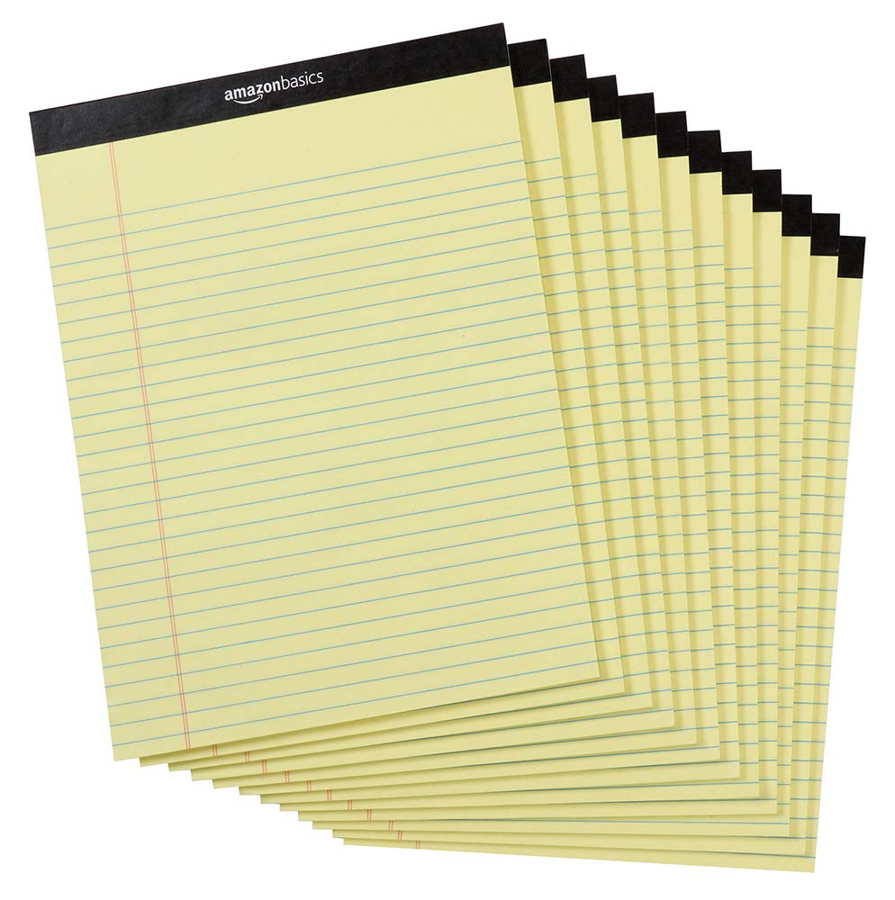 AmazonBasics Legal/Wide Ruled 8-1/2 by 11-3/4 Legal Pad - Canary (50 sheets per pad, 12 pack)