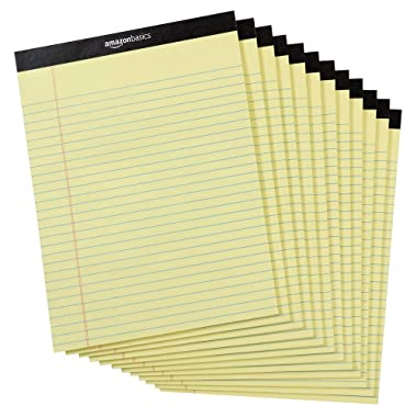 AmazonBasics Legal/Wide Ruled 8-1/2 by 11-3/4 Legal Pad - Canary (50 Sheet Paper Pads, 12 pack)