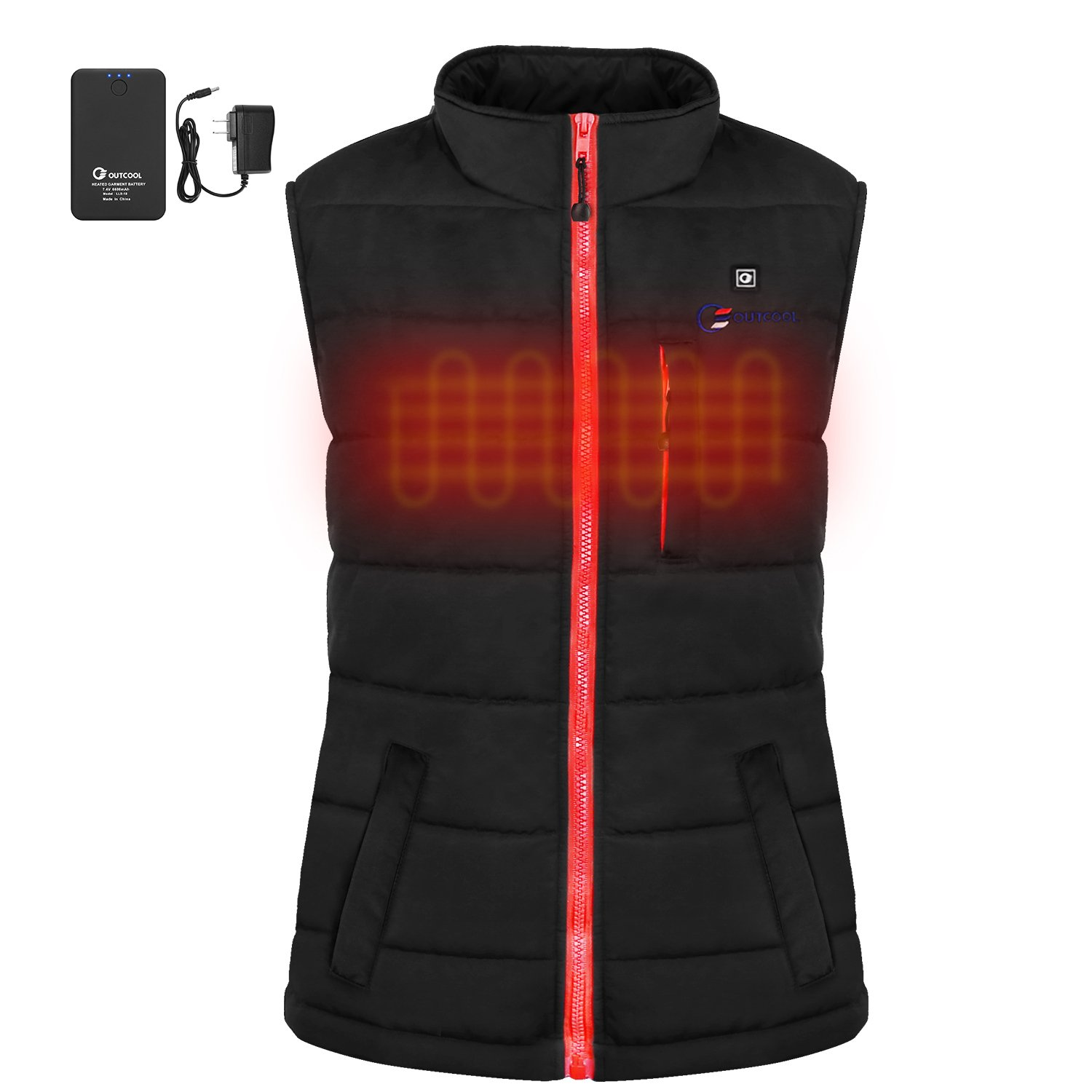 OUTCOOL Women's Slim Fit Heating Winter Vest Lightweight Insulated Heated Waistcoat(L)