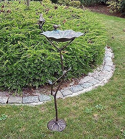 Bebedero para pájaros en rama, bronce fundido: Amazon.es: Jardín