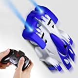 SGILE Remote Control Car Toy, Rechargeable RC Wall Climber Car for Kids Boy Girl Birthday Present with Mini Control Dual Mode 360° Rotating Stunt Car LED Head Gravity Defying, Blue