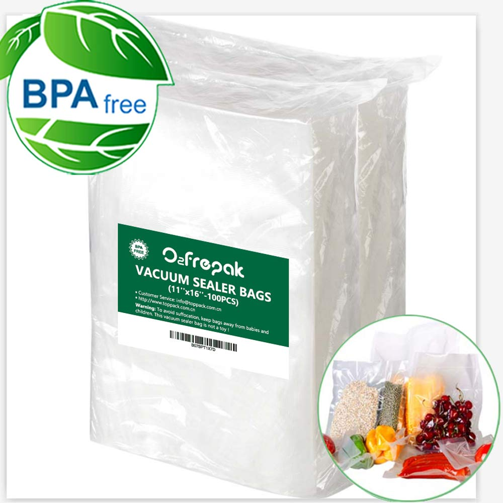 100 Bags 11'' x 16'' Size Gallon Vacuum Sealer Storage Bags for Food Saver, Seal a Meal Vac Sealers, BPA Free, Heavy Duty Commercial Grade, Sous Vide Vaccume Safe, Upgrade Design Pre-Cut Bag by O2frepak