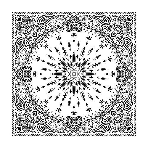 White Circular Burst Paisley Bandana - Single Piece 22x22