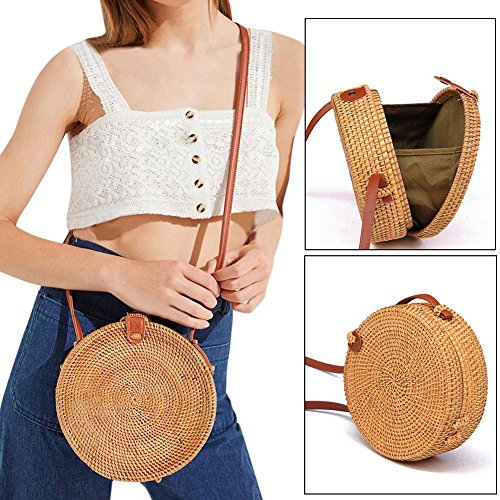 Small Beach Crossbody Bag Bohemian Rattan Handmade Round Shoulder Bag Retro Woven Circular Straw Braided Handbag Fashionable Household Storage Bag ()