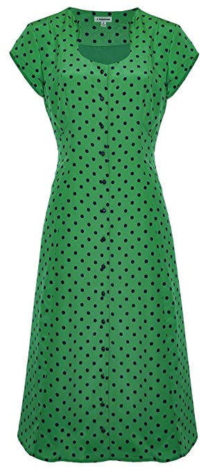 1950s Day Dresses Polka Dot Button Front Dress $263.35 AT vintagedancer.com