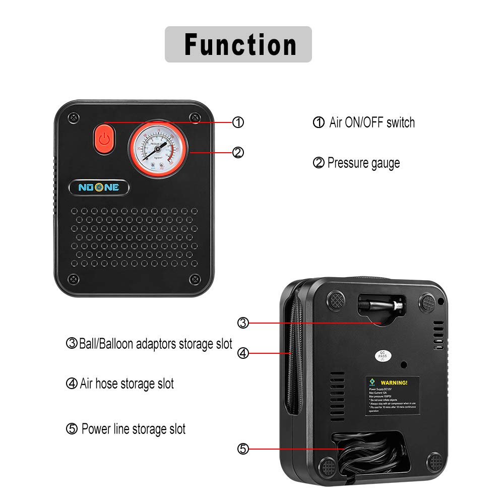 NoOne Portable Air Compressor Pump, 12V DC Mini Car Tire inflator Gauge for Car/Bicycle/Motorcycle/Ball/Air Matresses 120W 150PSI by NoOne (Image #2)