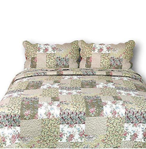 Tache Floras Outing Floral Print Patchwork Reversible 3 Piece Bedspread Quilt Set, Queen