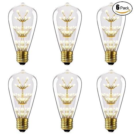 Lightess 6 Bombillas Vintage Retra Edison ST64 3 Vatios Bombilla LED - 2200K 200 Lúmenes Equivalente 30 ...