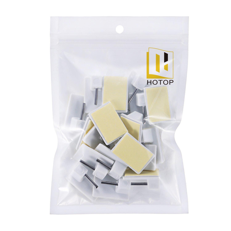 Hotop Crochets Autocollants pour Barres de Rideaux Nettes Blanc 20 Paquets